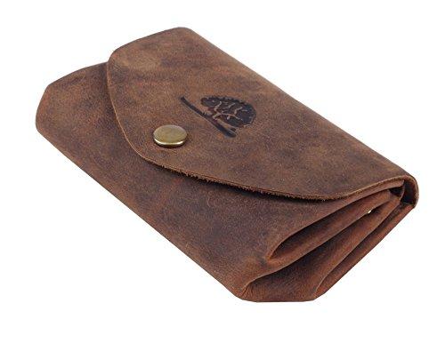 Minibörse aus Leder l Herren-Geldbörse l Geldbeutel-klein l Kleiner Geldbeutel l Portemonnaie l kleine Damenbörse l Herren-Portmonee braun l 10x7x25 cm