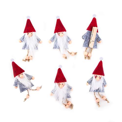 Logboek-uitgeverij 6 kleine kabouters sierklemmen decoklemmen kerstdecoratie verpakking kerstklemmen decoratie kerstmis