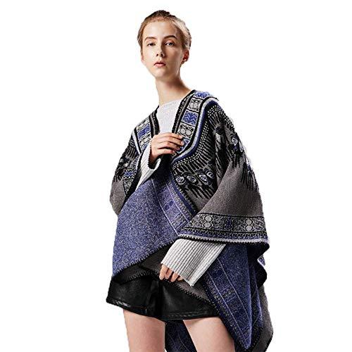 MHO Vrouwen Wrap Sjaal Winter Warm Verdikking Omkeerbare Poncho Cape Open Voorzijde Elegante Sjaal Jas Elegante Retro Deken Sjaal Vest Jas