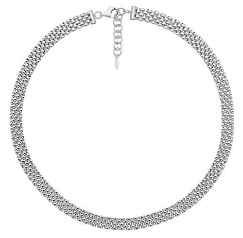 Sterling Silber Damen-Rhodium überzog Uhr-Verbindungs-Halskette