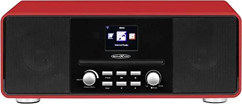 Reflexion HRA19INT DAB- und Internetradio mit CD-Player und Radiowecker (UKW, DAB, DAB+, Bluetooth, AUX-Eingang, Kopfhöreranschluss, Fernbedienung), rot