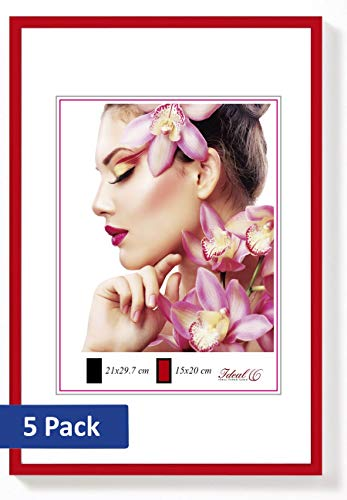 5er Set Ideal Light Kunststoff Bilderrahmen 20x30 bis 50x70 Bilder Foto Rahmen: Farbe: Rot | Format: 30x40