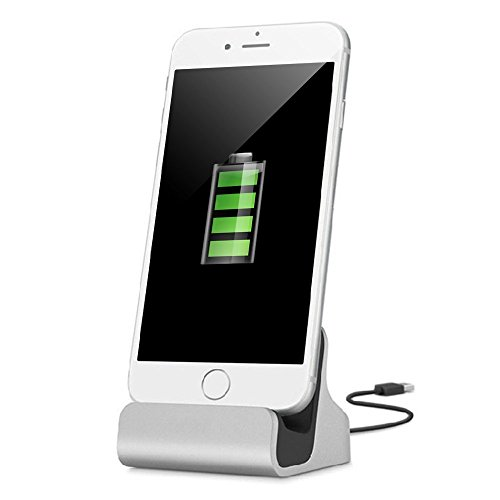 YooGoal Dockingstation Ladestation für das Apple iPhone - Dock Station mit Kabel - Ladegerät für 7, 7 Plus, 6s, 6, 6 Plus, 6s Plus, 5, 5s, 5c, SE, iPod - Silber