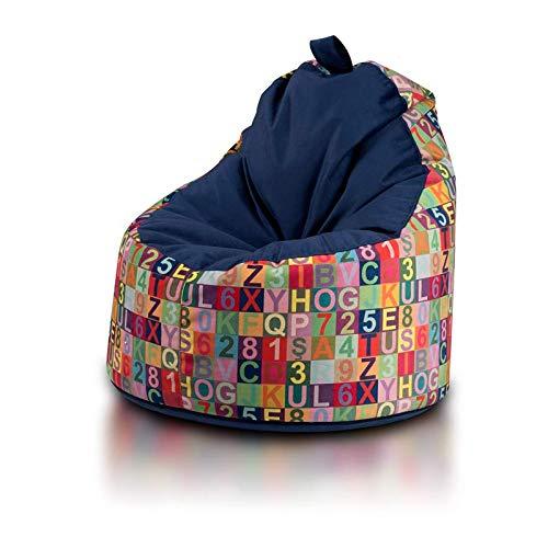 Ecopuf Yoko Sitzsack Modern - Plüsch-Bean-Bag aus Mikrofaser mit Abnehmbarem Bezug und Tragegriff
