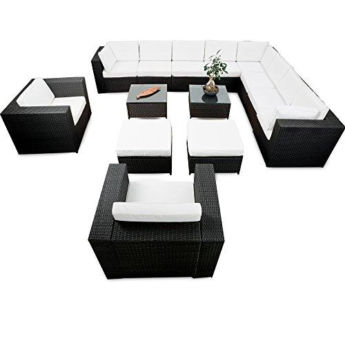 XINRO® erweiterbares 41tlg. XXXL Lounge Set Polyrattan - schwarz - Sitzgruppe Garnitur Gartenmöbel Lounge Möbel Set - inkl. Lounge Ecke + Sessel + Hocker + Tisch + Kissen
