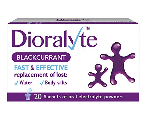 Dioralyte Rehydration Supplement Electrolytes Replacement of Lost Body Water and Salts, Blackcurrant Flavour, 20 Sachets, 24 g