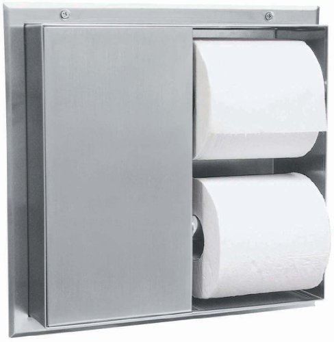 """Bobrick 386 304 Stainless Steel Partition-Mounted Multi-Roll Toilet Tissue Dispenser with 2 Toilet Compartments, Satin Finish, 13-1/4"""" Width x 10-9/16"""" Height"""