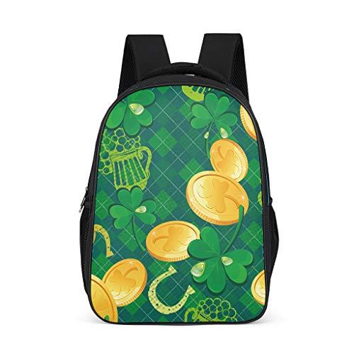 Fineiwillgo St. Patrick es Day Mochila de diseo para libros, mochila para bicicleta para estudiantes y estudiantes, color gris, talla nica