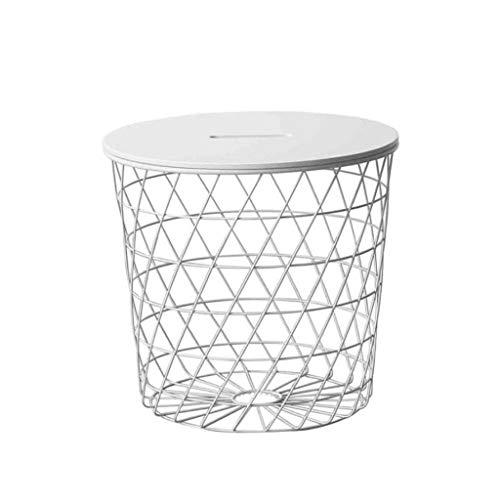 Mesa de Centro Rejilla redonda de hierro forjado Mesa de centro pequeña Sofá de la sala Mesa auxiliar con canasta de almacenamiento (blanco y negro) Mesitas de salón para el café ( Color : White )
