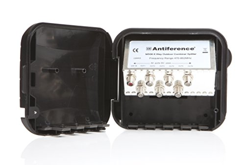 Antiference MS06LTE 6 Way F-Type Connections External TV Aerial Splitter