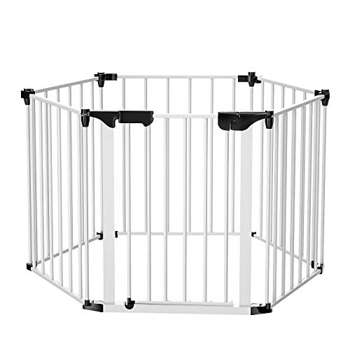 Folding Fireplace Fence, Bammax Extensible Baby Safety Fence Hearth Gate Playpen 3 in 1 Multi-Function Play Yard Durable Pet Steel Fire Gate, White