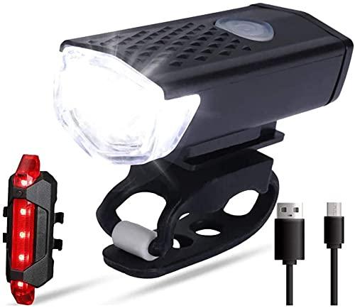 MRZJ Juego de luces LED para bicicleta, luz delantera y trasera, recargables por USB, impermeables, luz trasera para bicicleta