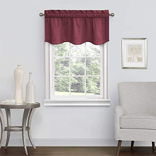 """Eclipse Canova Blackout Thermaback Window Valance Curtains for Kitchen or Bathroom, 42"""" x 21"""", Burgundy"""