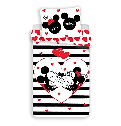 Disney Minnie et Mickey Stripes - Juego de Cama (Funda nórdica de algodón)