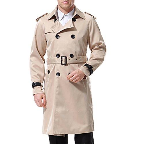AOWOFS Herren Trenchcoat Lang Slim Fit Zweireihiger Mantel im Militärischen Stil Trench Coat mit Gürtel Frühling