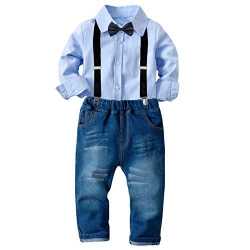 Tianhaik Kindjungenausstattungsklage 2pcs Jungenherrfreizeitklage langärmlige Hemdspitze + Hosenträgerhose