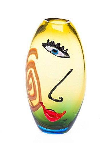 Glasvase Tischvase Gesicht Moderne Kunst im Murano Stil Vase gelb Glas