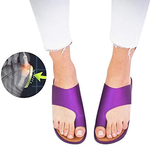 Sandales Plates Femmes Confortables Orthopedique Chaussures Plateforme - 2020 Newest Été Sandales Femmes Sandales Plates Toe T-Sangle Comfy Semi Trailer Sandales Chaussures de Plage (Style C, 40)