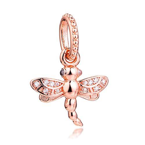 PANDOCCI 2020 - Abalorio de libélula con rosa de primavera brillante de plata 925 para pulseras Pandora originales