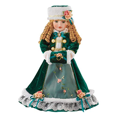 Collections Etc Abigail Holiday Porcelain Doll in Emerald Dress with Faux Fur Trim - Gift Idea to be Displayed