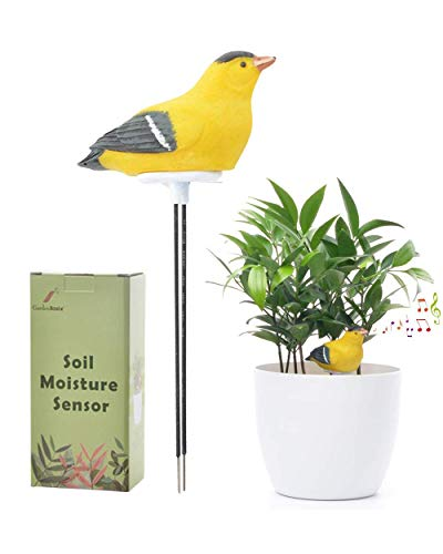 GardenBasix Soil Moisture Meter Watering Alarm Chirping Bird Plant Water Tester Hygrometer Sensor Gardening Tool Kit for Planter Water Remind Warining Alert (Yellow)