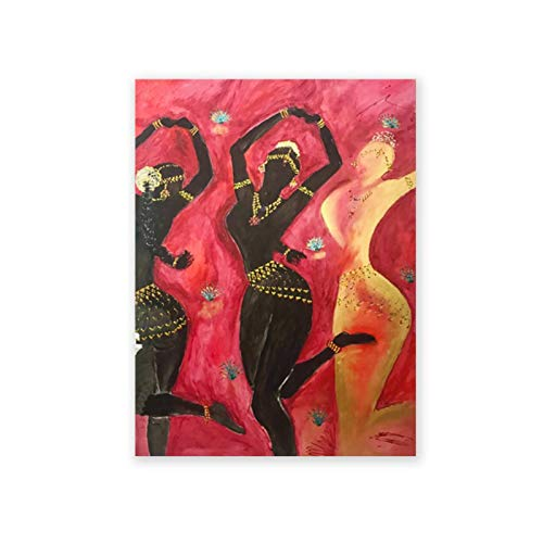 3 bailarines del templo Bollywood Odissi impresiones artísticas de pared pintura de danza clásica india lienzo póster decoración única imagen-40x60cm sin marco