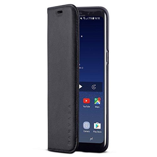KANVASA Samsung Galaxy S8 Lederhülle Leder Hülle Ledertasche schwarz Pro Luxus Echtleder Hülle Tasche Flip Cover für das Original Samsung Galaxy S8 (5,8