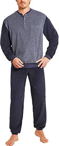 hajo - Herren Schlafanzug Langarm (Pyjama) Marine blau Frottee 56