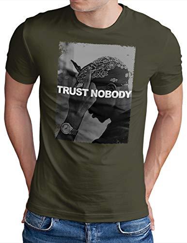OM3 – Trust-Nobody – Camiseta para hombre Tupac Shakur Hip Hop King of Rap Slogan Camiseta estampada S – 4XL verde oliva L
