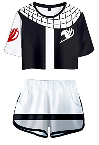 Hifoda Maglietta e Pantaloncini 3D Anime Fairy Tail Set di Sport di Moda a Tema Magico Natsu Gray Lucy per Ragazze e Donna(L)