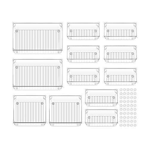 ACCEVO 12 PCS Organizadores Transparentes para Cajones, Cajas Plásticas de Almacenamiento, Apilables Baño Bandejas Organizadoras Escritorio Cajas para Cosméticos Joyas Dormitorio Cocina Oficina