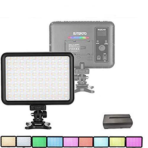 0-360 Vollfarb RGB Kamera Video Leuchte Kamera Beleuchtung Panel für DSLR Kamera Camcorder Telefon Vlog Video 2500K-8500K Einstellbar, 0-100% Stufenlose Dimmung CRI/TLCI 95+ mit Batterie