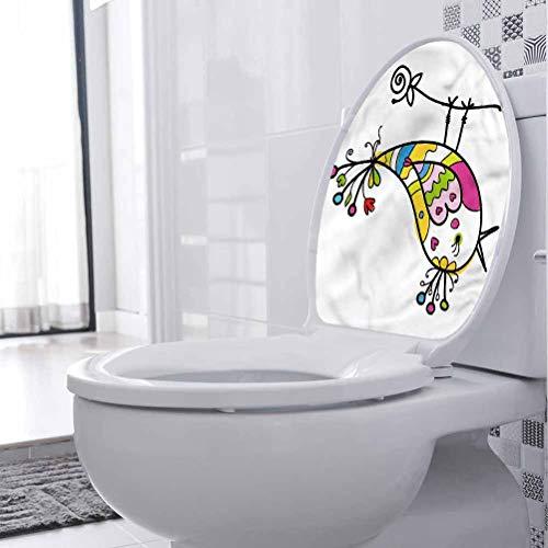 Homesonne - Adhesivo decorativo para asiento de inodoro, diseño de pájaro, canto de pájaro, para baño, 30 x 30 cm