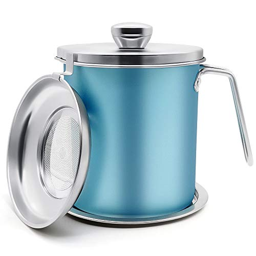 Bacon Grease Container, 2L Stainless Steel Oil Storage Can Container with Strainer, Suitable for Kitchen Cooking or Frying Oil Keeper and Storage, Blue