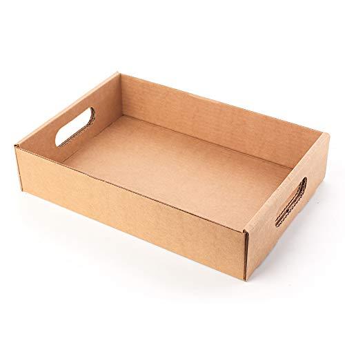 Kartox | Bandeja/Cesta de Cartón Con Asas | 32X22X7 | 10 Unidades