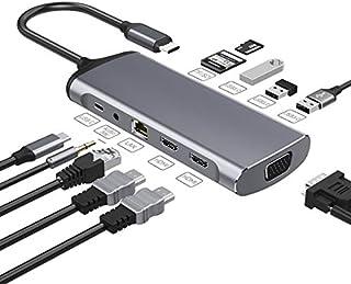 IZELL ドッキングステーション Type-C ハブ 11 in 1 USB C ハブ 【magBac】 デュアルスクリーン マルチディスプレイ USB3.0 TypeC アダプター 4K 映像出力 3.5mmジャック HDMI SD Mic...
