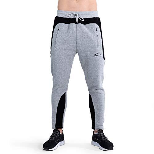 SMILODOX Herren Jogginghose Rounded   Trainingshose für Sport Fitness Gym Training & Freizeit   Sporthose - Jogger Pants - Sweatpants Hosen - Freizeithose Lang, Größe:XL, Farbe:Grau/Schwarz