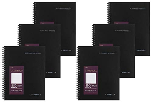 Cambridge Limited Notebook, 6 Pack Black Notebook, Legal Ruled, Professional Business Notebook, 80 Sheets, Spiral Wirebound Office Journal & Notebook For Quicknotes, Meeting for Women & Men, CAM10-402