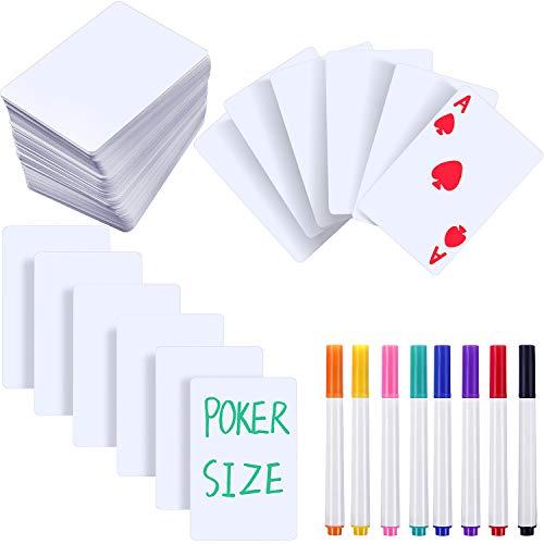 150 Stücke Spiele Leere Spielkarten, Trocken Löschen Blitz Spielkarten Weiße Index Notizkarten, Mattes Fertig und Poker Größe mit 8 Stücke Trockenlösch Marker Siften für Lernen DIY Spiele Schule Büro