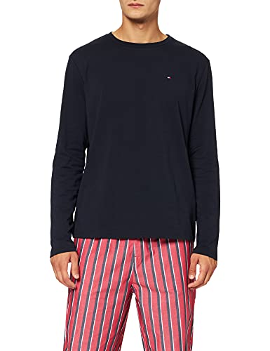 Tommy Hilfiger Cn LS Pant Woven Set Print Juego de Pijama, Desert Sky/Deck Stripe Vertical, XL para Hombre