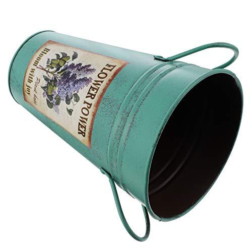Yardwe Metalowy wazon na kwiaty rustykalny dzbanek wiadro na kwiaty żelazna puszka na mleko vintage suszona doniczka na świeżo suszone aranżacje kwiatowe dom wiejski dekoracja