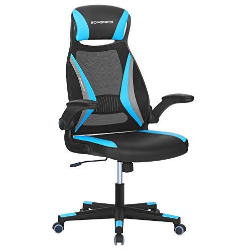 SONGMICS Bürostuhl mit Netzbespannung, Stuhl mit Kopfstütze und Armlehne, höhenverstellbar, um 360° drehbar, mit Wippfunktion, bis 130 kg belastbar, ergonomisch, schwarz-hellblau-grau OBN086B03