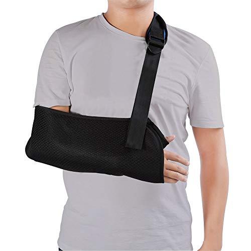 Arm Sling, Universal Black Adjustable Arm Sling with Soft Padded Shoulder Strap for Adults Unisex