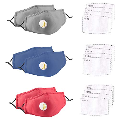 NP 6 PCS Cotton Vented Face Covering Shields with 12 Activated Carbon Filter Filters - Dust-Proof Anti Fog Face Shield with Breathing Valve - Reusable Washable Mouth Breathing Covering for Kids Adult