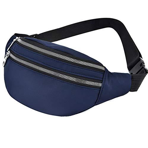 niumanery Universal Sports Travel Waist Bag Wear-Resistant Nylon Waist Pack Phone Pouch Blue