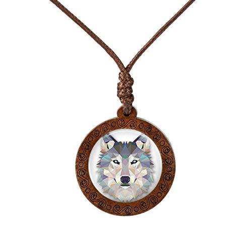 YUNMENG Animal Lobo Tigre Koala Collar de Cristal cabujón Arte Pintura Madera Colgantes Cera Cuerda Cadena joyería para niñas niño