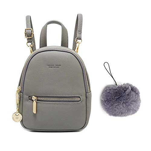 Flywill Ladies Mini Backpack Large Capacity Rucksack PU Leather Lightweight Daypack with Adjustable Shoulder Straps Casual Bags Fashion School Travel Bag for Women Girls + Faux Furry Pendant,Grey Gray
