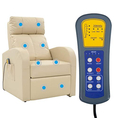 vidaXL Massagesessel Fernsehsessel Relaxsessel Massage TV Sessel mit Heizung Creme