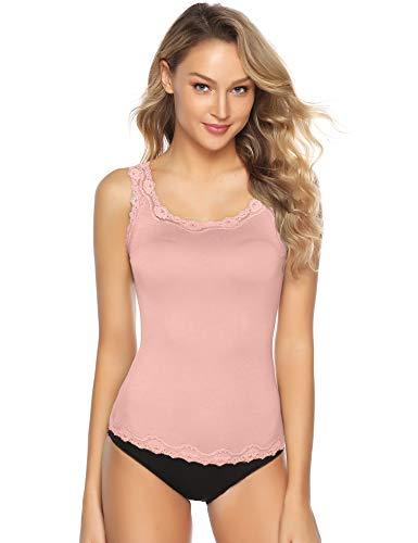 Abollria Damen Tanktop mit Spitzen Elegantes Spitzentop Weich Stretch Unterhemd,Rosa,M