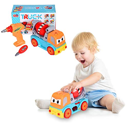 ZipChic DIY Detachable Remote Control Cartoon Car with Light Music Excavator Take Apart Excavator Toys with Electric Drill-Converts